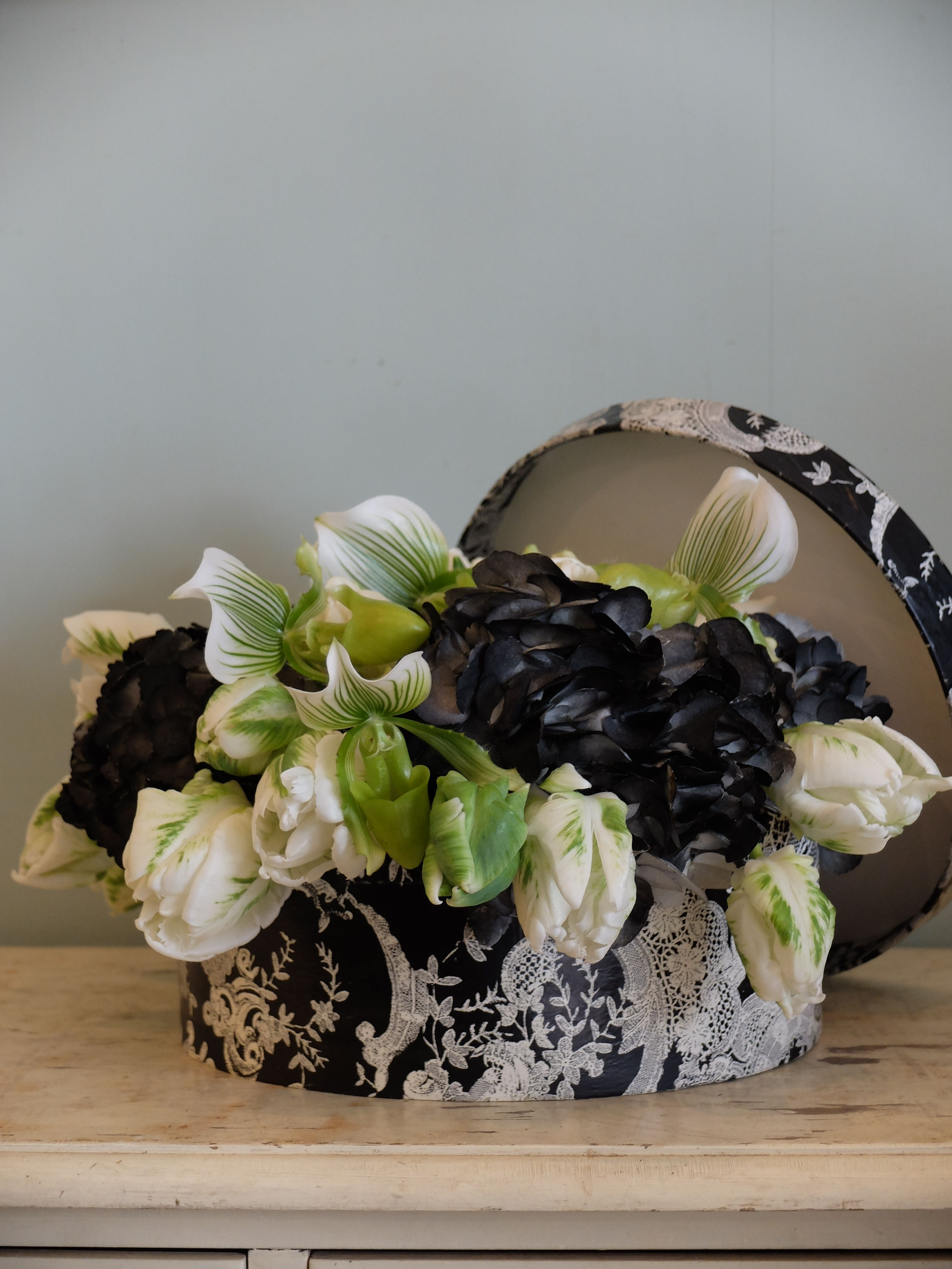 orchid,tulip and black hydrangea