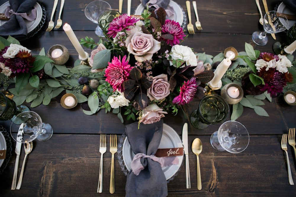 This moody wedding inspiration that was captured by Jess and Jenn Photography was inspired by a bohemian vibe with a modern twist.