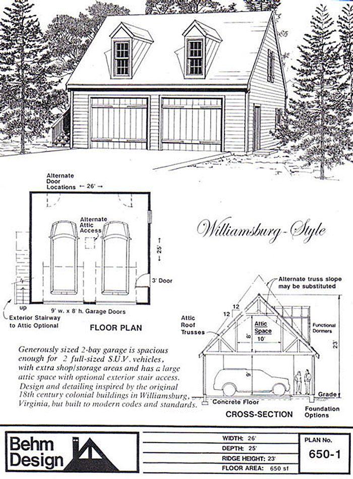 6501 26 x 25 – 2 Bay Garage Plans