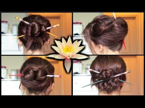 Four Simple Chopstick Hair Do Hairstyles
