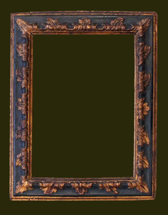 Venetian early 18C reverse section frame with carved leaf, 15 1/2 x ...