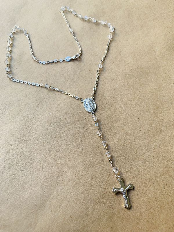 Silver Rosary Necklace Swarovski Crystal #rosaryjewelry