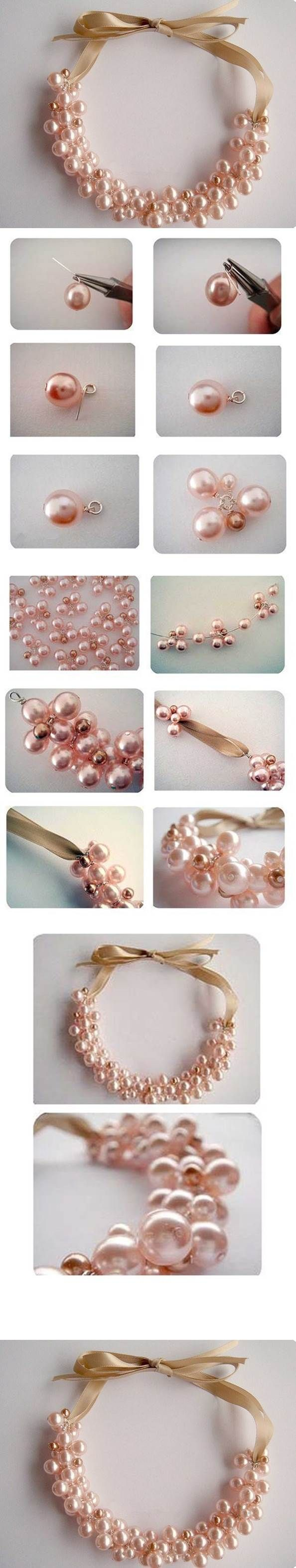 DIY Elegant Pearl Cluster Necklace 2
