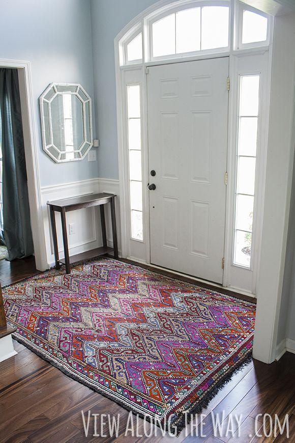 Foyer With Colorful Turkish Kilim Rug