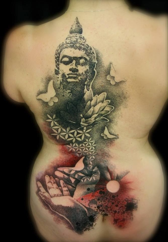 full back tattoo designs of buddha the artist did a great job of combining what looks like. Black Bedroom Furniture Sets. Home Design Ideas