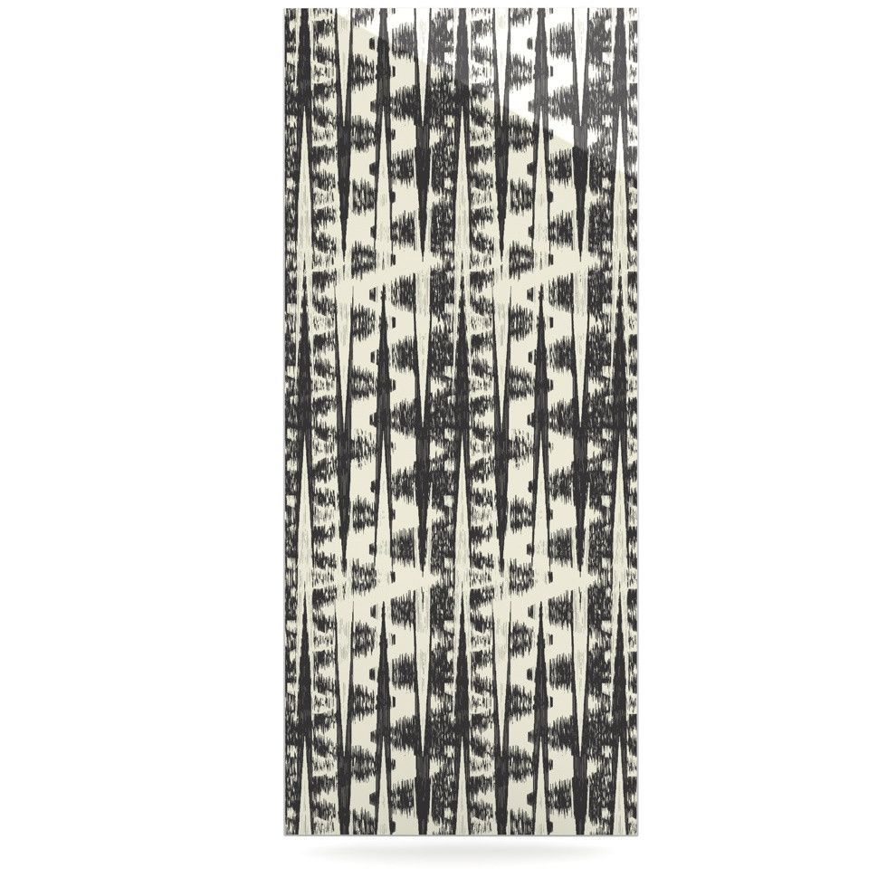 "Amanda Lane ""Black Cream Abstract"" Luxe Rectangle Panel"