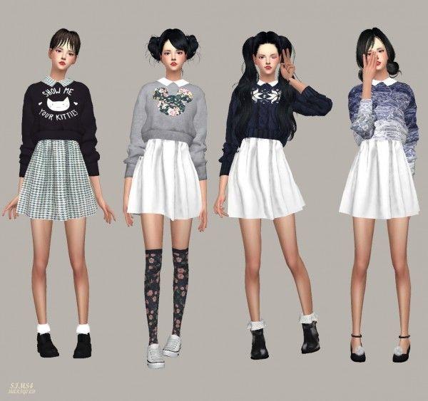 SIMS4 Marigold: Knit Sweater One Piece | Marigold sims 4 ...Korean Toddler Cc Sims 4