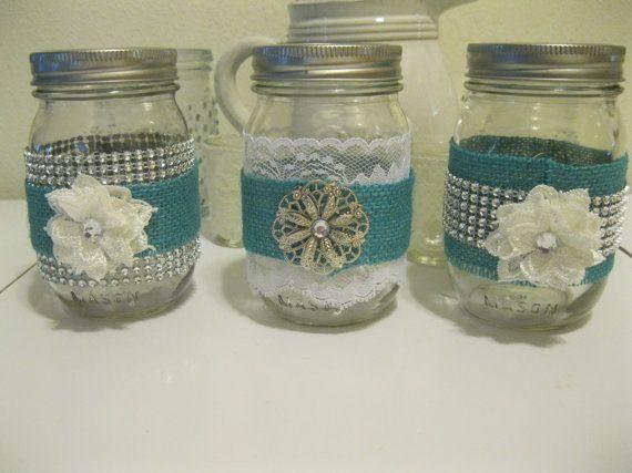 3 Turquoise Blue Burlap Lace And Bling Mason Jars Wedding