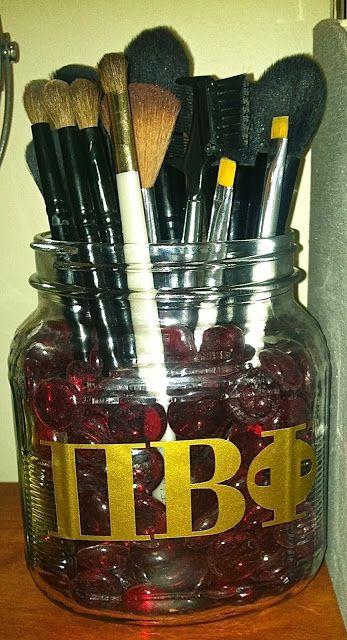 I Love my Big! Homemade Pi Phi Makeup Brush Holder