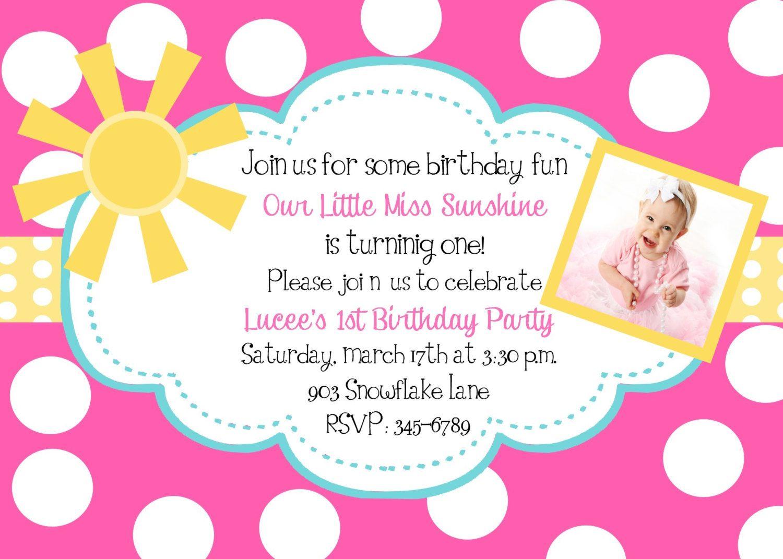 Sunshine Birthday Party invitations printable or digital file – Invitations for Birthday Party Templates