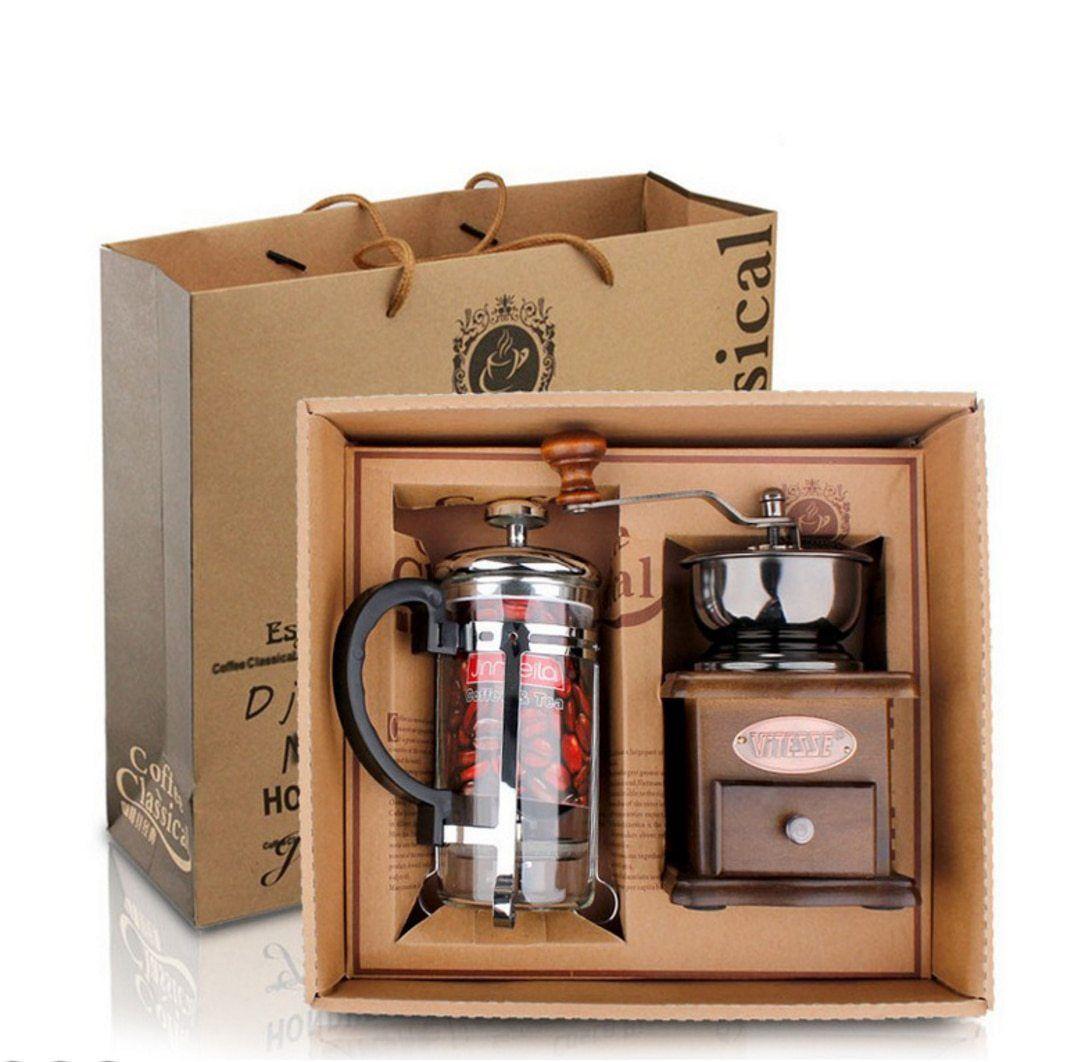 1PC Eco Coffee Gift Box Coffee Grinder+350ML French Press
