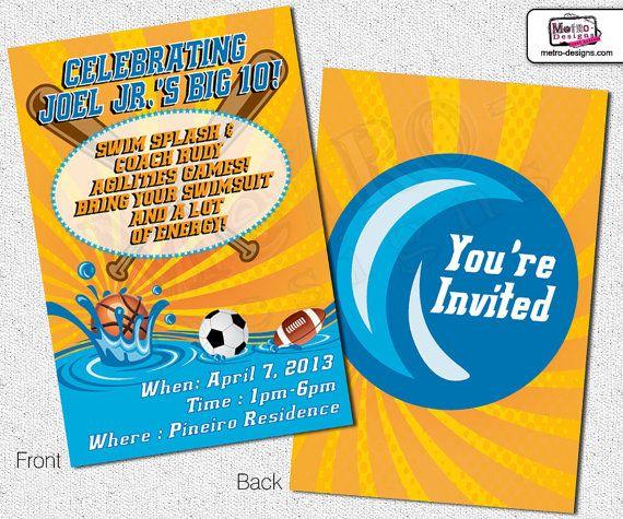 Sports Birthday Invitations  Pool Party Invitations Party