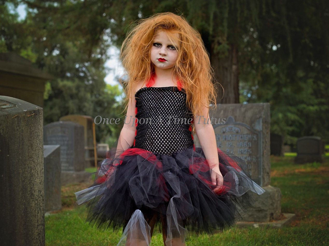 walking zombie tutu dress black red halloween costume little girls size 6 12 months - 4t Halloween Costumes Girls