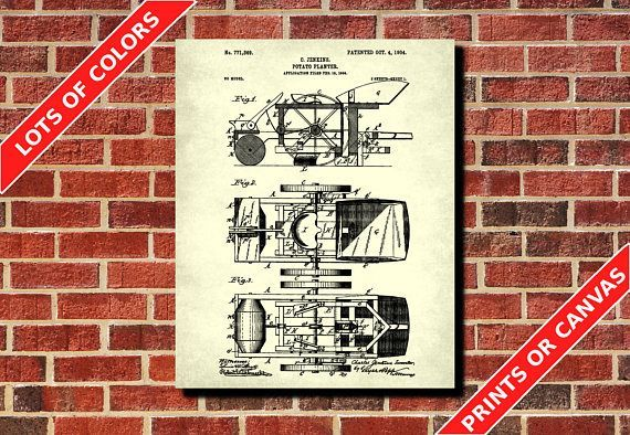 Farming Equipment Patent Print, Potato Planter Blueprint, Farmer - copy plane blueprint wall art