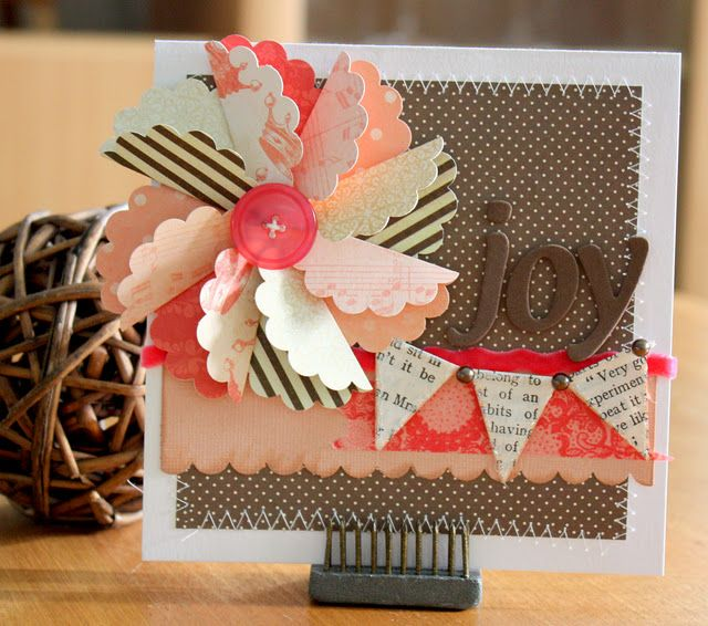 Use flower cut out and field over to make pinwheel use for summer page layout