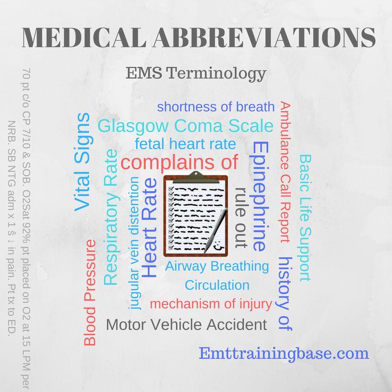 Medical Abbreviations Emt Training Base Emt Study Medical Emt