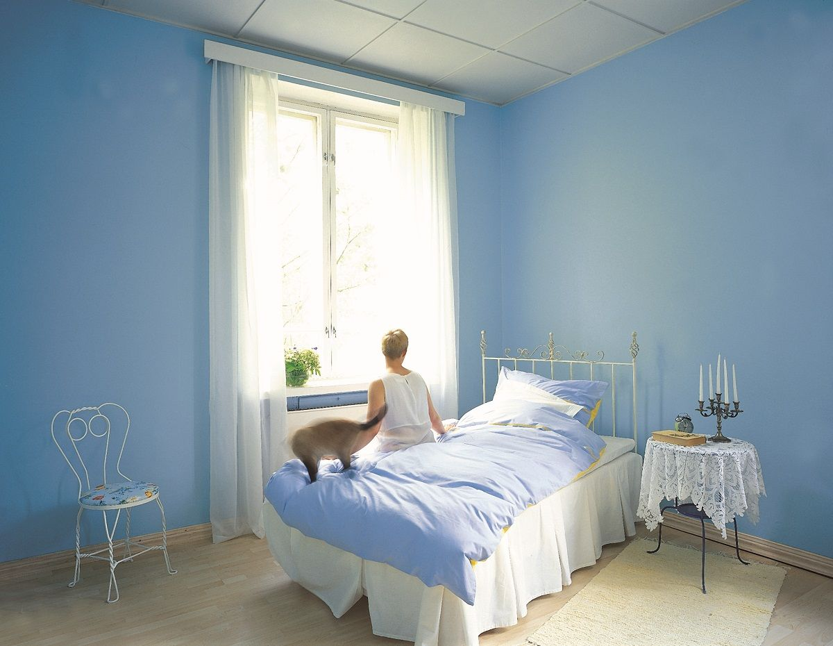 #Blue Is A Calming #colour, #paint Your #bedroom #blue And Create A Serene  Sleeping Space! To Get This Look Use #Tikkurila Feelings Interior #Paint.
