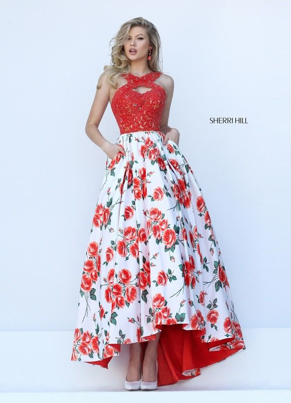 2016 Cheap Sherri Hill 50481 Floral Printed Hi Low Ball Gown