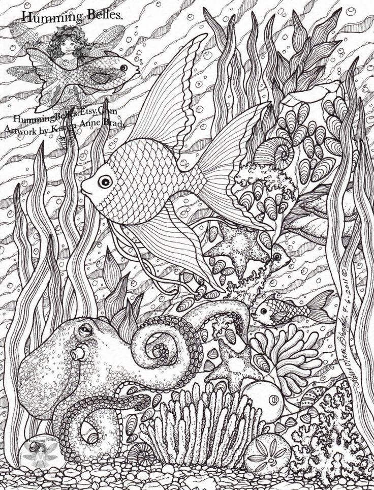 Free Challenging Under The Sea Coloring Pages For Adults Enjoy - under the sea coloring pages pinterest