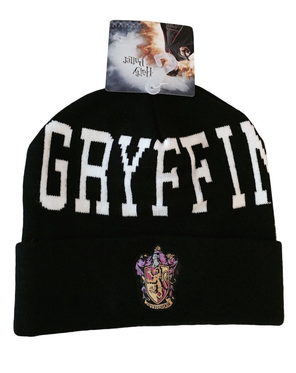 e966551583f Harry Potter Gryffindor Crest and Text Logo Black Cuff Knit Beanie Hat NWT