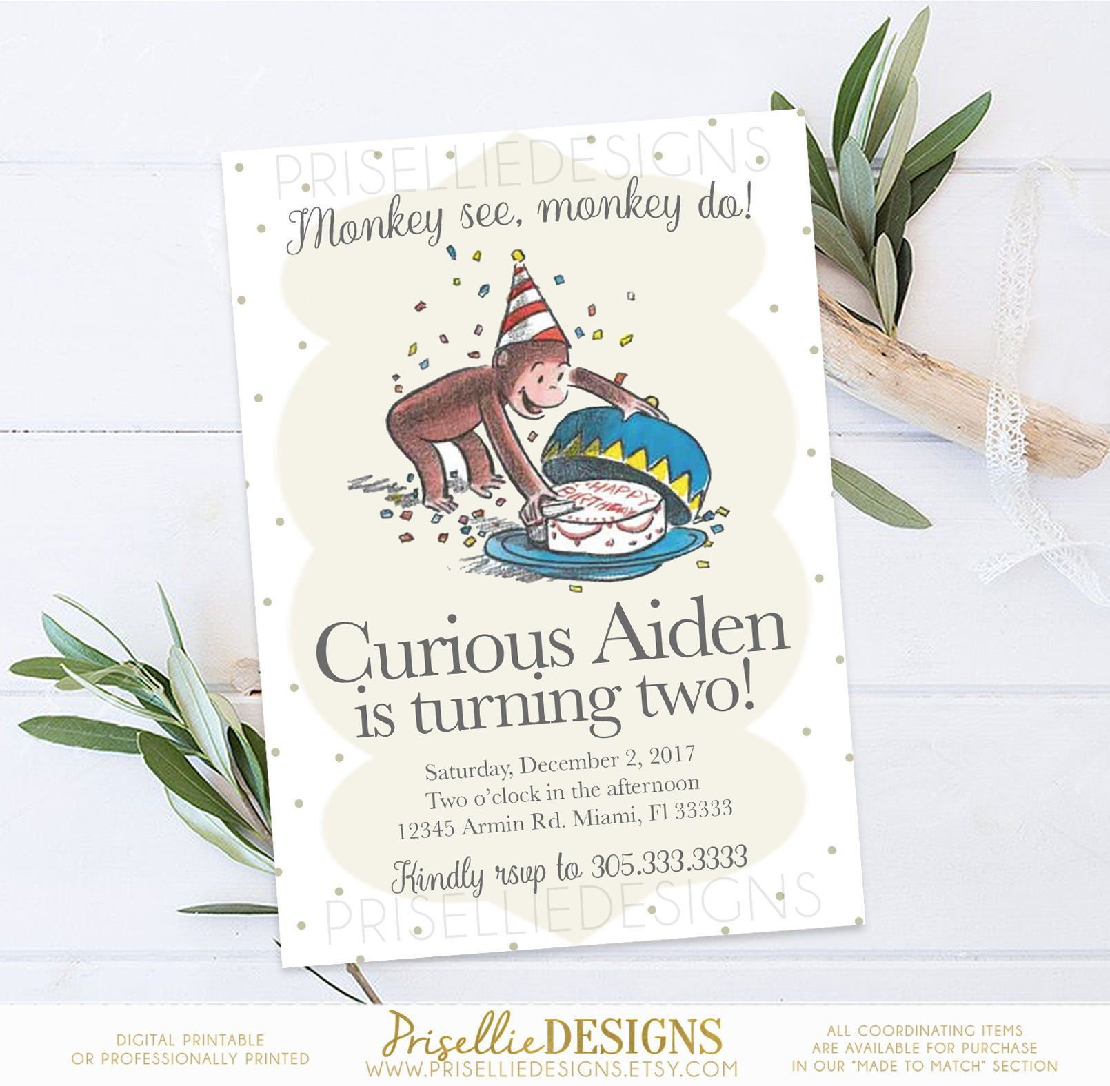 Curious George Birthday Invitation Classic Curious George Birthday