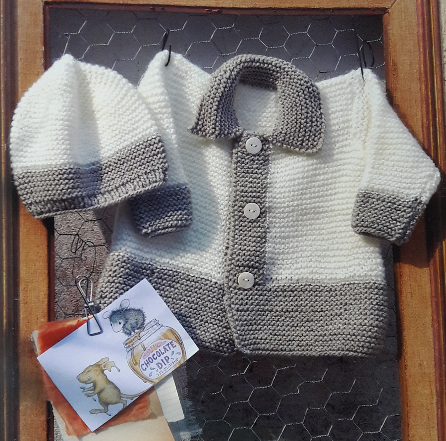 Conjunto tejido de saquito y gorro para bebe (facilísimo, para ...