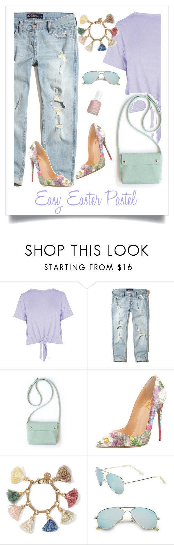 """""""Pastels"""" by style-stories ❤ liked on Polyvore featuring Boohoo, Hollister Co., Ben-Amun, Polaroid and Essie"""