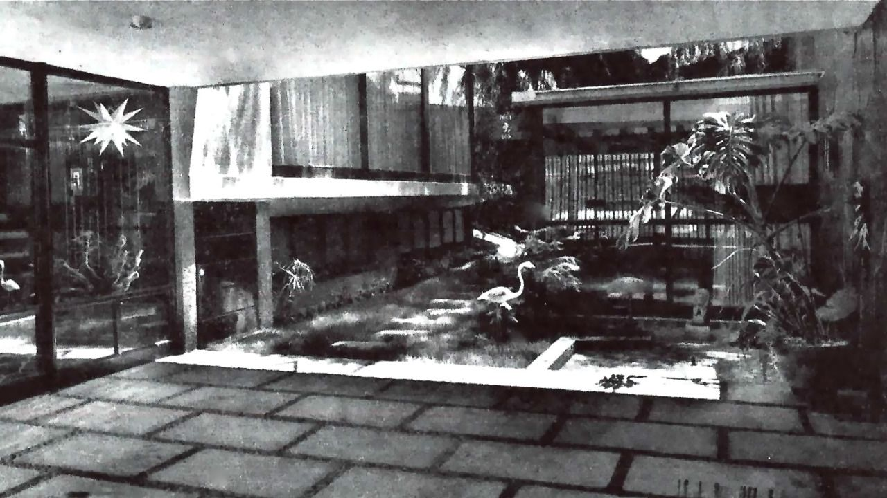 Vista del patio interior, Casa en Nápoles, calle Dakota 366, Nápoles, Benito Juárez, Ciudad de México  1956 (modificada)  Arq. Antonio Abud Nacif -   View of the interior courtyard, House in Napoles, Dakota 366, Napoles, Benito Juarez, Mexico CIty 1956 (modified)