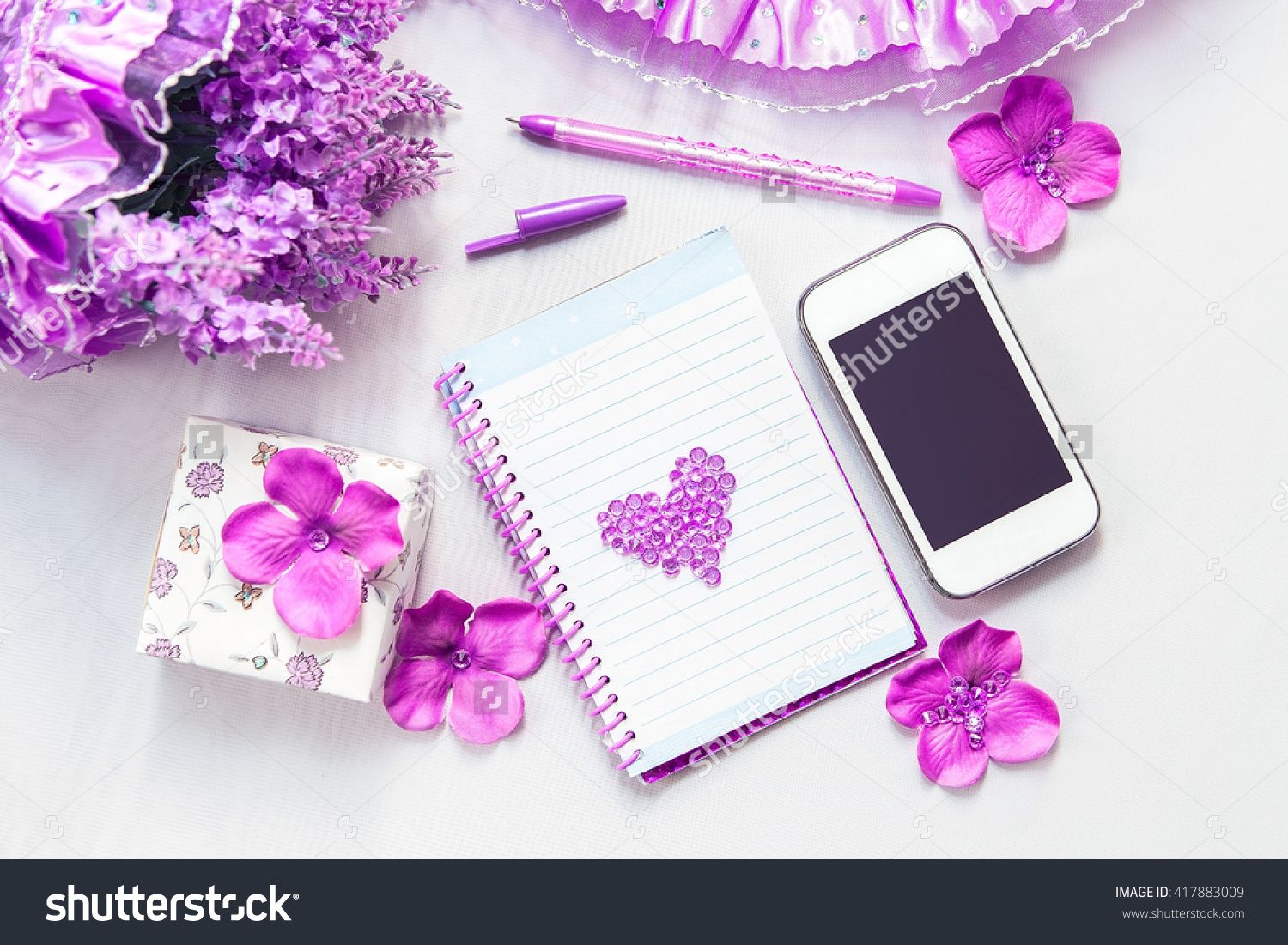 Office Supplies Business Women. Phone, Notebook And Pen. Some Office Stuff On A…