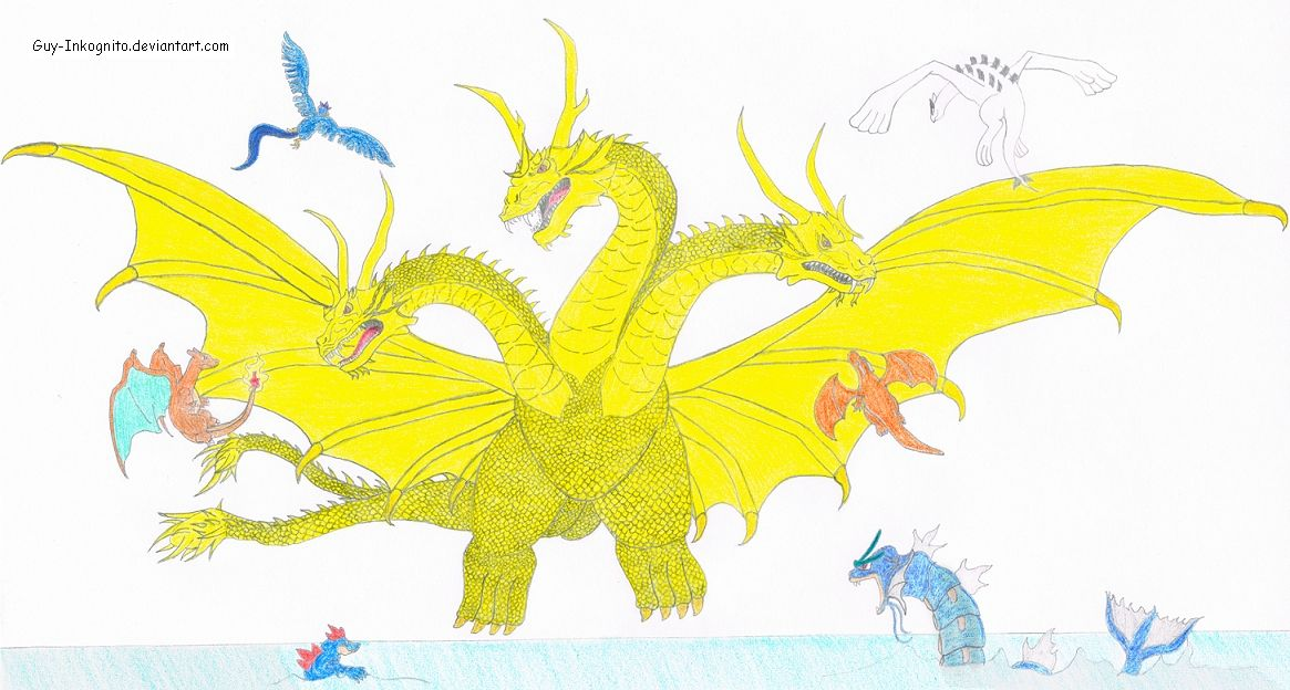 ghidorah (godzilla) vs several pokemon