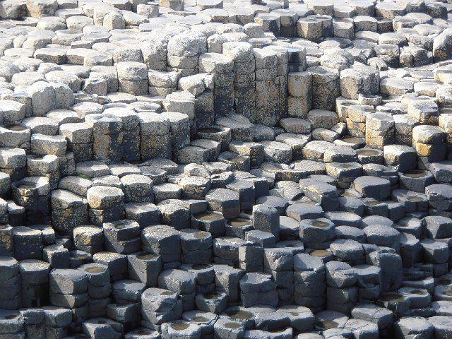 natural hexagonal shaped stones giants causeway county