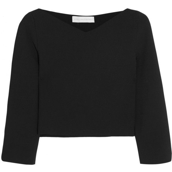 Stella McCartney Cropped jersey-piqué top ($840) ❤ liked on Polyvore featuring tops, crop top, long sleeve tops, stella mccartney, store, black, stella mccartney top, jersey tops, v neck crop top and v-neck tops