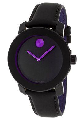 63520b7a2 Movado MOV-3600165 Watches,Bold Black Dial Black Genuine Leather, Women's  Movado Quartz Watches