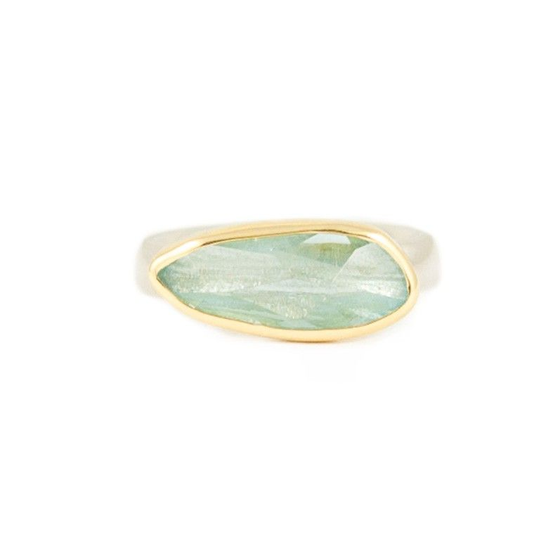 Slim Aquamarine with 18ct Gold and Silver Ring By Margoni