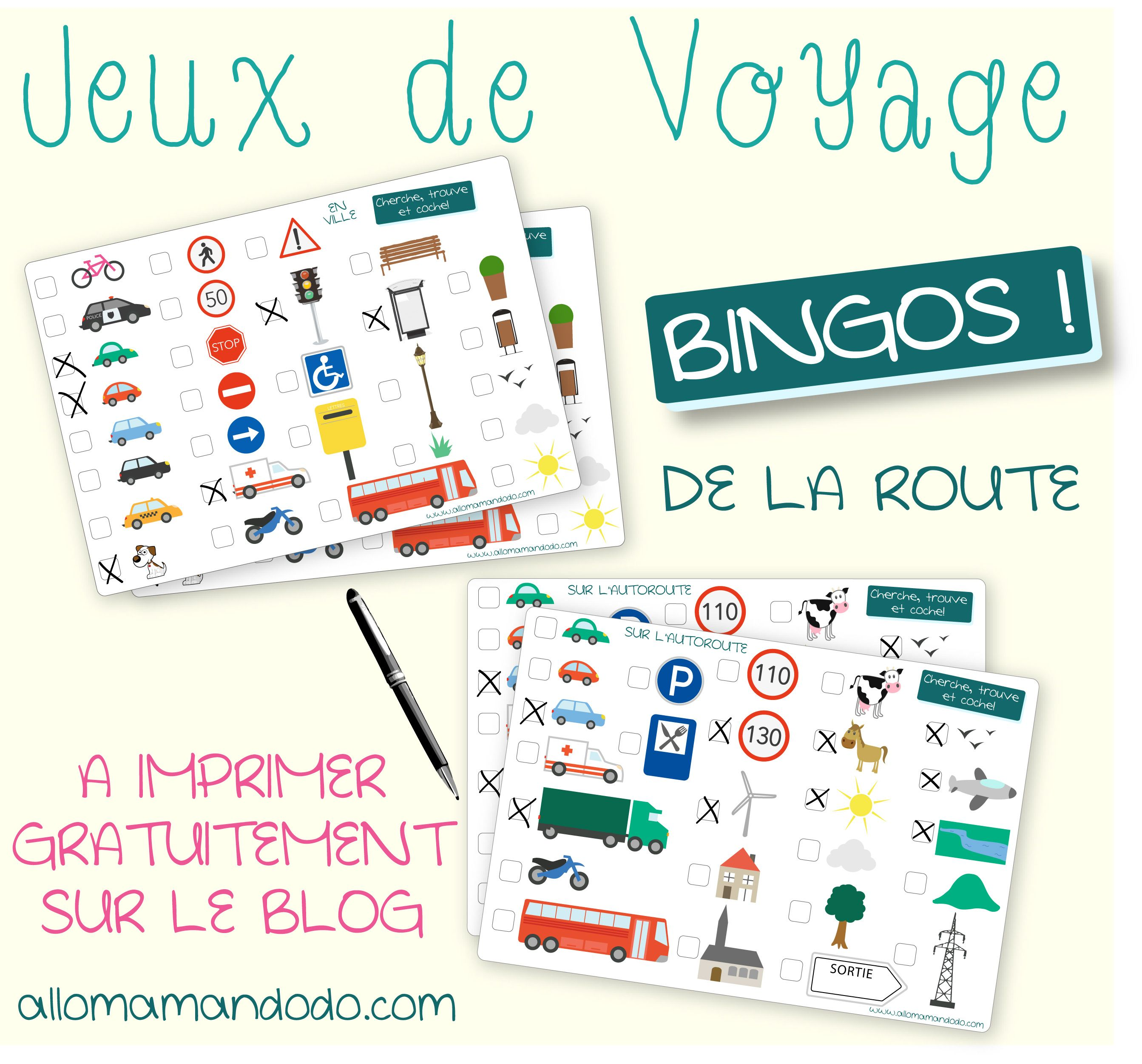 les occuper en voiture jeux de voyage bingo de la route imprimer enfants diy jeux. Black Bedroom Furniture Sets. Home Design Ideas