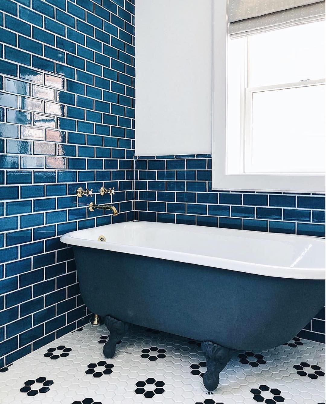 Blue tile, black and white floor | Bathrooms | Pinterest | Blue ...