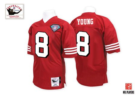 Mitchell and Ness Premier EQT Steve Young Red Men s Jersey - San Francisco  49ers  8 NFL Throwback Home 75th Patch 48638a251