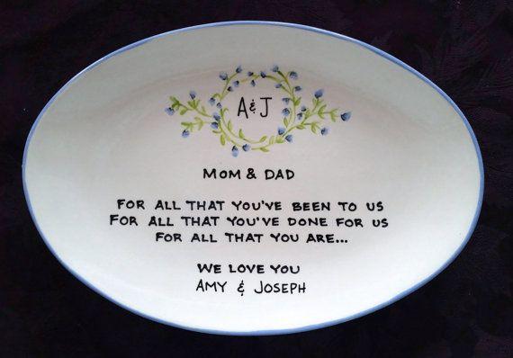 Wedding Gift For Pas Plate Thank You Mom And Dad Custom Vine Monogram