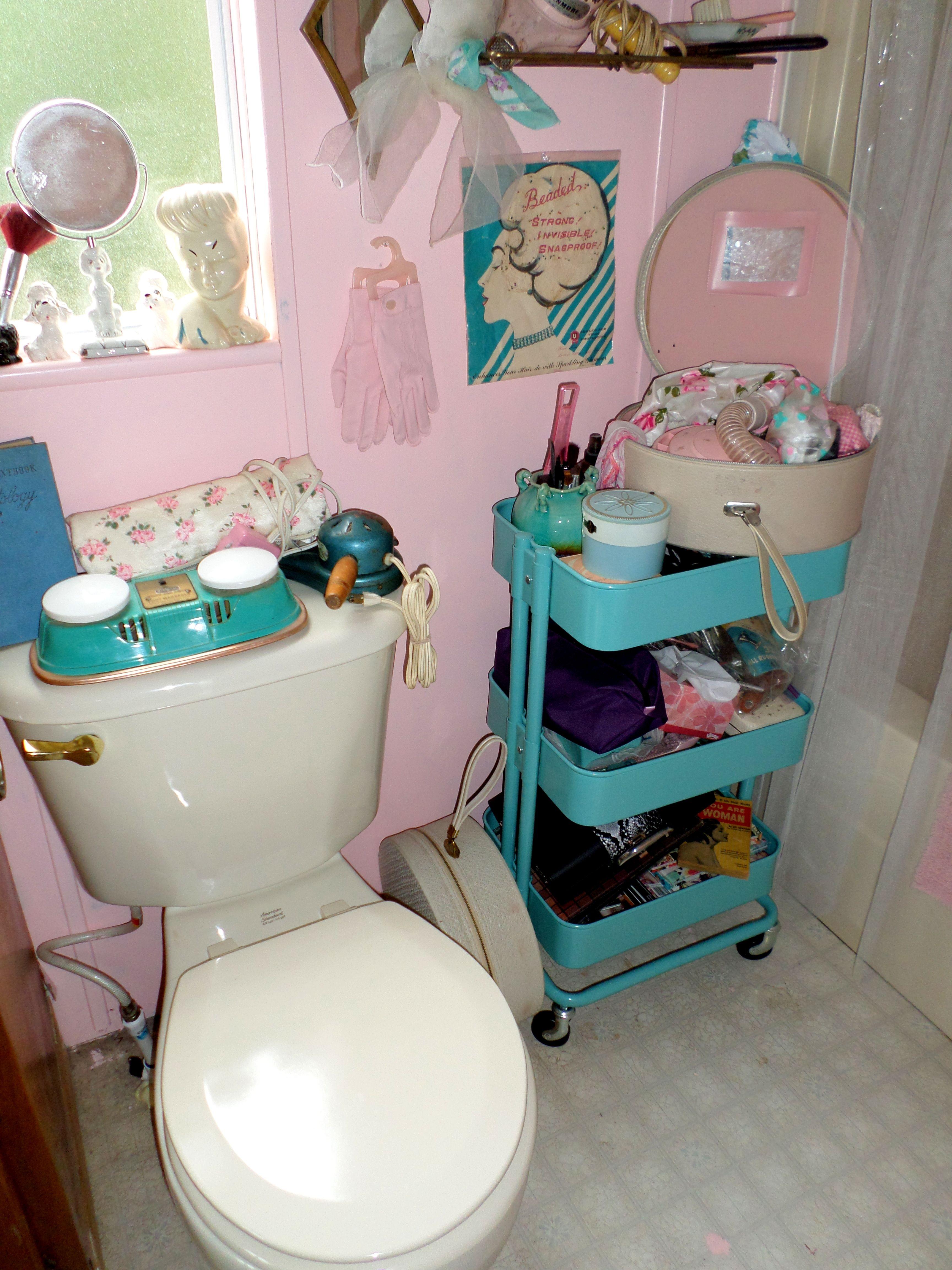 My Ultra Y Master Bathroom Tags Pink Teal Aqua Poodles Vintage Retro Pinup 50s Feminine Powder Room New Home