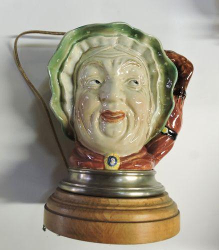 Royal-Doulton-Toby-Jug-Toirned-Into-Lamp-Sairey-Gump-Beswick-Ware