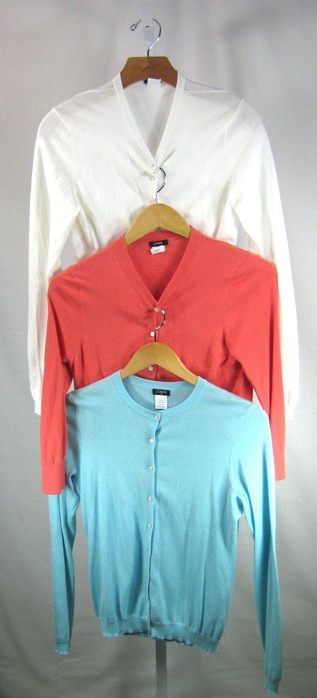 J CREW Lot of 3 Blue White Pink Cotton Cashmere Cardigan Sweaters Size S / M #JCrew #Cardigan