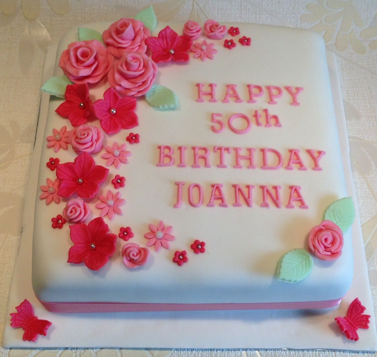 Happy 50th Birthday Square Iced Cake Flowers Butterfly Pink