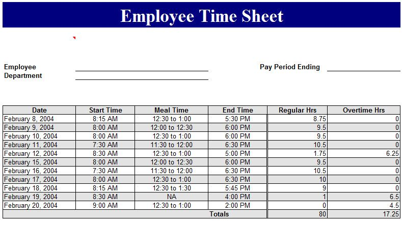 sample of employee timesheet excel template management templates