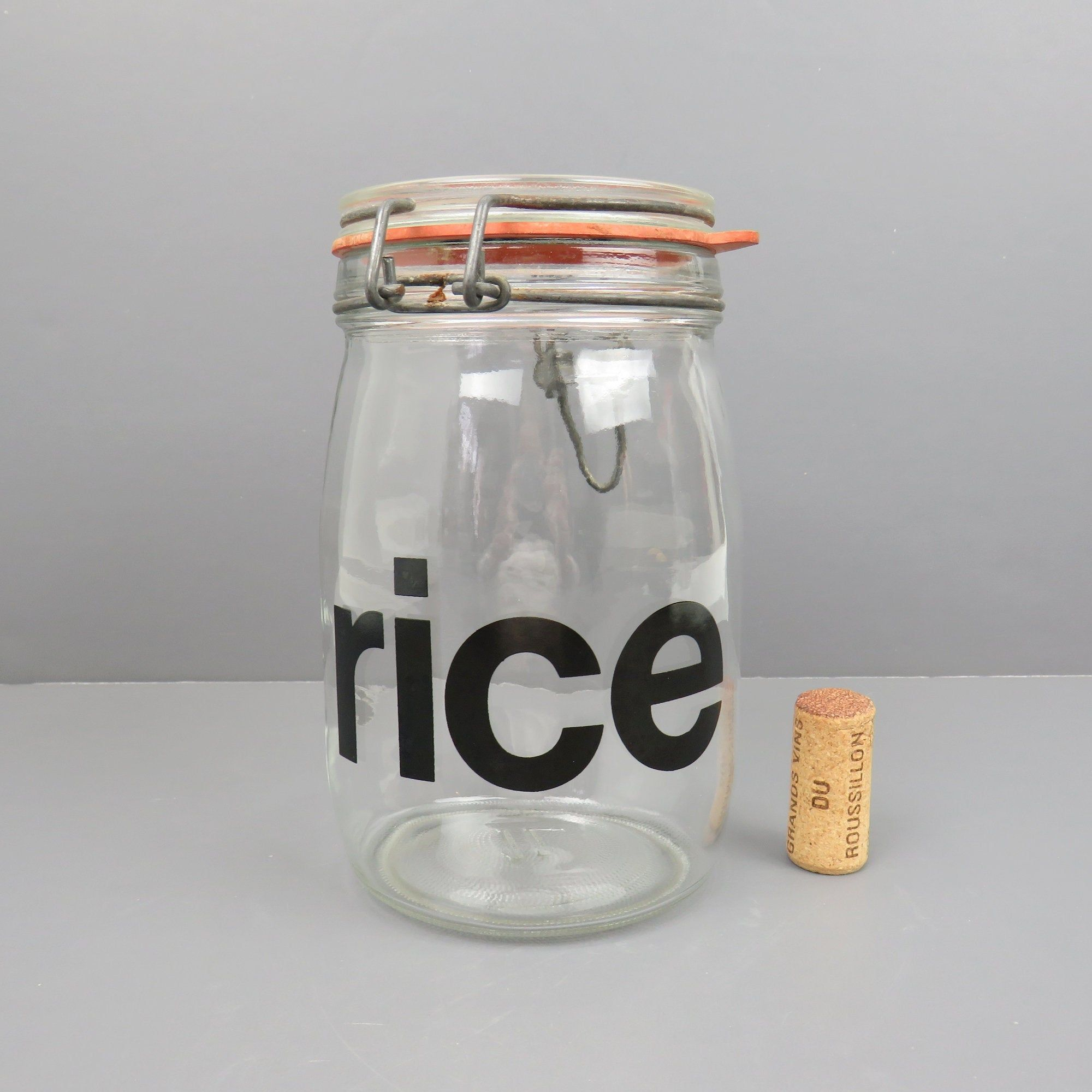 Retro Typography Rice Kitchen Storage Canister Canning Jar 1 L Glass Jar Hermetic Seal Metal Wire Bail Flip Top In 2020 Glass Canister Jars
