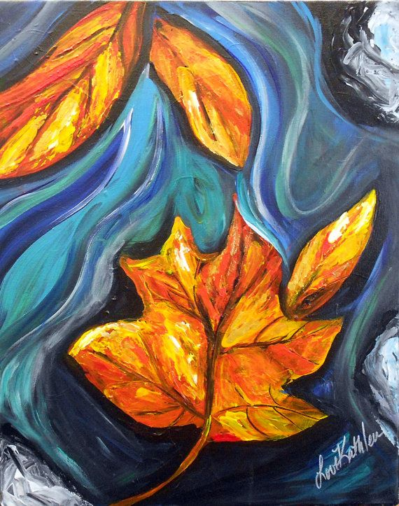 Original Modern Autumn Fall Tree Leaf Acrylic Painting ...