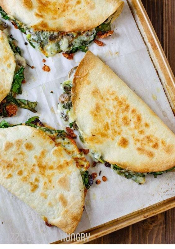 Baked Spinach Mushroom Quesadillas  #meals
