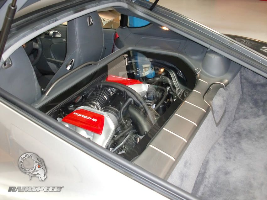 porsche cayman installation of transparent engine cover custom painting of manifolds