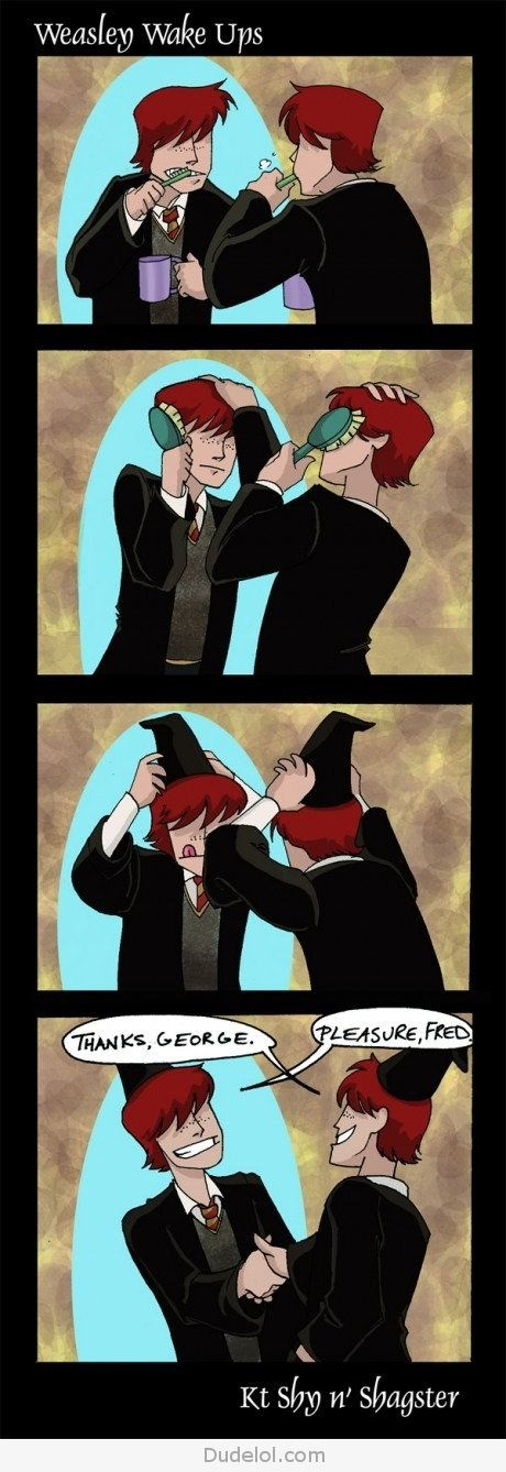 the Weasleys brothers getting ready in the morning. Until Fred DIES :-( tear