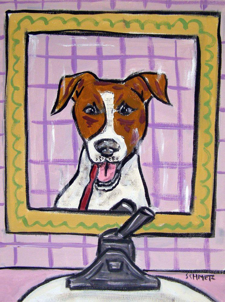 Jack Russel Terrier bathroom  art print animals impressionism gift 8x10