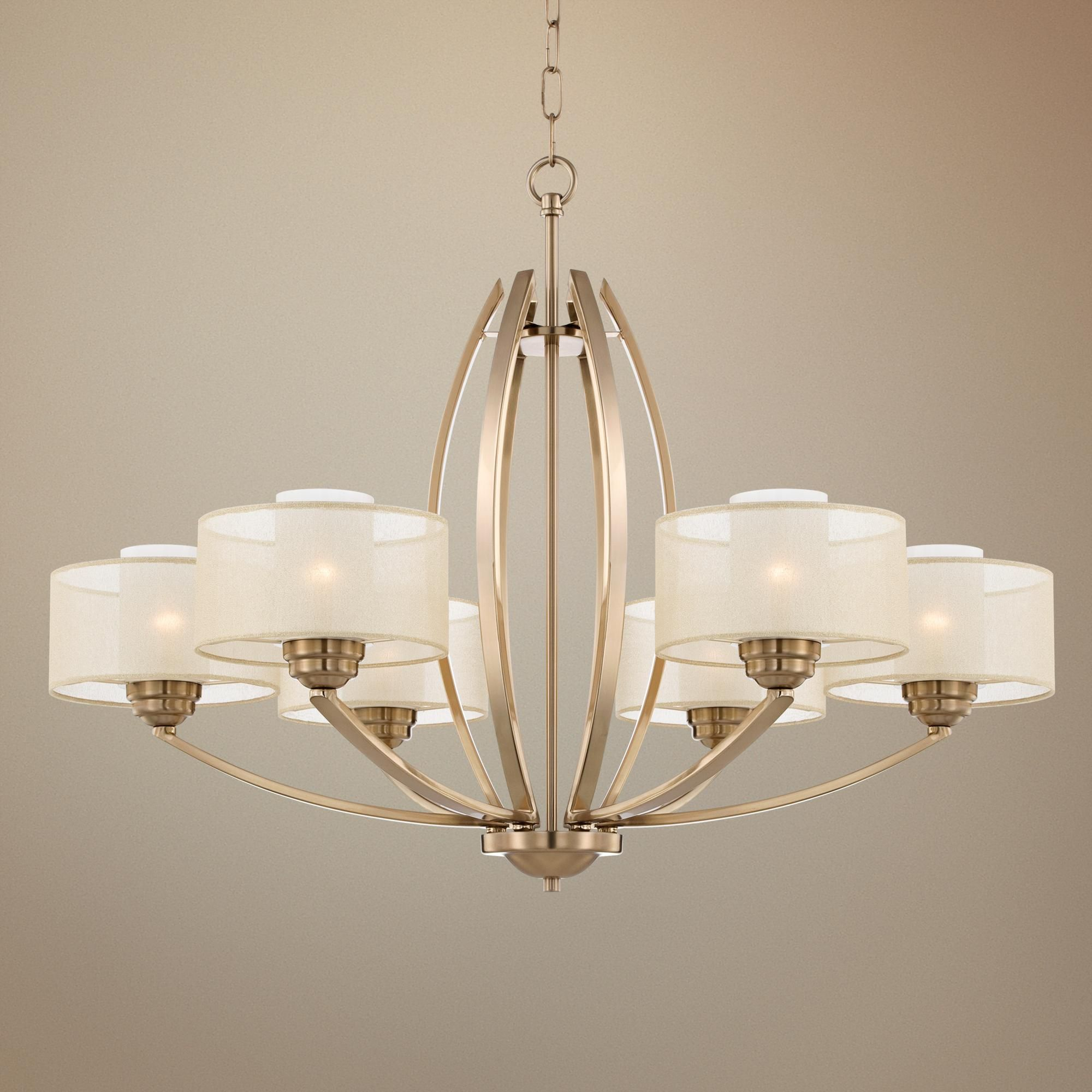 "Possini Euro Alecia 34"" Wide French Gold Chandelier"